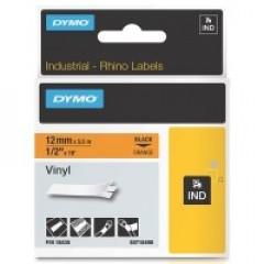 Dymo rhino tape 12mm zwart/oranje vinyl (18435)