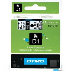 Dymo D1 tape 12mmx7m zwart/transparant (4501000)