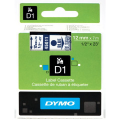 Dymo D1 tape 12mmx7m blauw/transparant (4501100)
