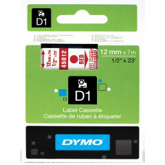 Dymo D1 tape 12mmx7m rood/transparant (4501200)