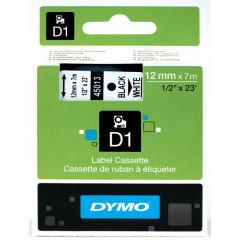 Dymo D1 tape 12mmx7m zwart/wit (4501300)
