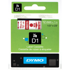 Dymo D1 tape 12mmx7m rood/wit (4501500)