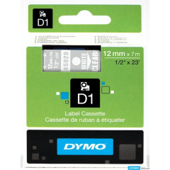 Dymo D1 tape 12mmx7m wit/transparant (45020)