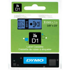Dymo D1 tape 9mmx7m zwart/blauw (40916)