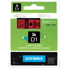 Dymo D1 tape 9mmx7m zwart/rood (40917)