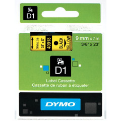 Dymo D1 tape 9mmx7m zwart/geel (40918)