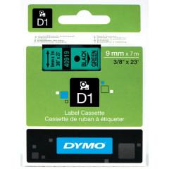 Dymo D1 tape 9mmx7m zwart/groen (40919)
