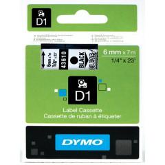 Dymo D1 tape 6mmx7m zwart/transparant (43610)