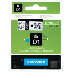Dymo D1 tape 6mmx7m zwart/wit (43613)