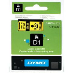 Dymo D1 tape 6mmx7m zwart/geel (43618)