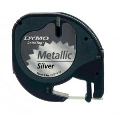 Dymo letratag tape metallic / zilver (91208)