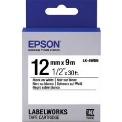 Tape Epson 12mm x 9m zwart op wit