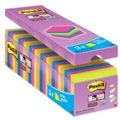Memoblok Post-it Super Sticky 76x76mm assorti voordeelpak 21+3 gratis