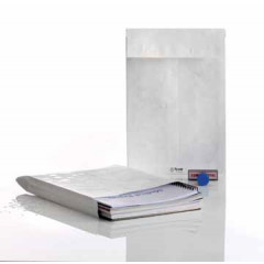 Zakomslag met balg Tyvek 250x353x38mm met strip wit (100)