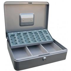 Geldkoffer Acropaq met muntsorteerder 30x24x9cm zilver